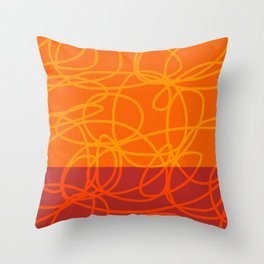 Chaos Lines On Red Orange Horizon Minimal Abstract Art Dalim Throw Pillow
