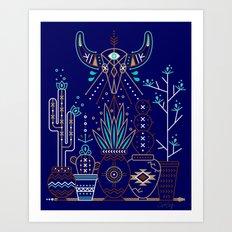 Santa Fe Garden – Navy Art Print