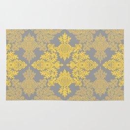 Golden Folk - doodle pattern in yellow & grey Rug