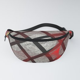 Red Black Lines Fanny Pack