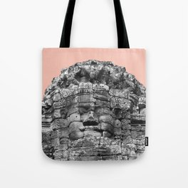 Buddha face with beige Tote Bag