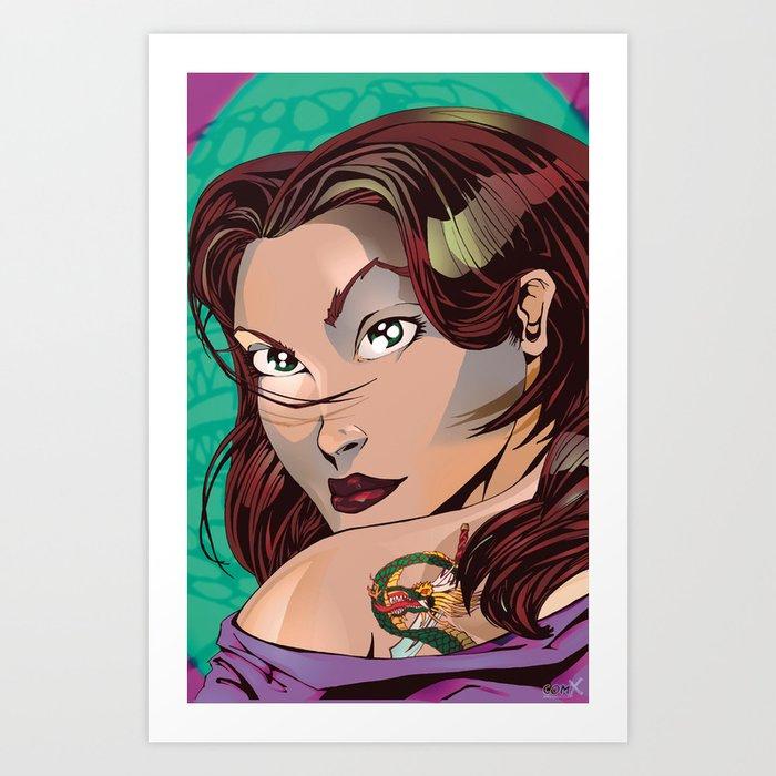 Tattoo Girl - Green  Art Print