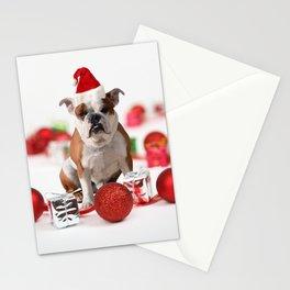 Bulldog Christmas Gift Box Ornaments Red Santa Hat Stationery Cards
