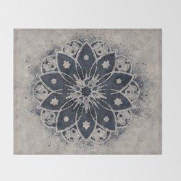 MANDALA BLUE BOHEMIAN GEOMETRIC ABSTRACT Throw Blanket