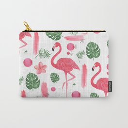 Elegant hot pink watercolor tropical flamingo floral Carry-All Pouch