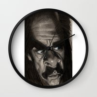 nick cave Wall Clocks featuring Nick Cave by Patrick Dea