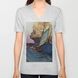 """""""Book of Pirates"""" Cover by Howard Pyle Unisex V-Neck"""