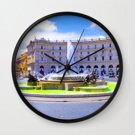 Fountain of Piazza della Republica in Rome Wall Clock