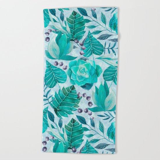 Green greenery watercolor tropical leaf pattern Beach Towel