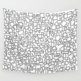 Graphic Geometric Black and White Minimalist Print Wall Tapestry