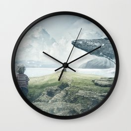 Magnificent Hunchback Whale Little Boy Fantasy Fjord Landscape Ultra HD Wall Clock