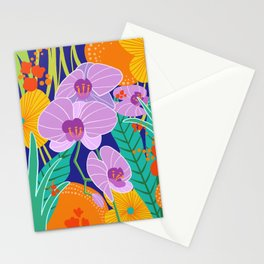 Orchid Fantasy Illustration, Tropical Colourful Orchids Stationery Cards