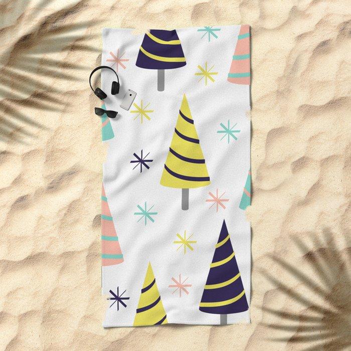 Colorful Christmas Trees Beach Towel