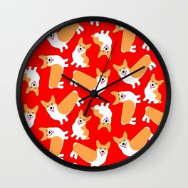 Christmas Corgis Bright Red Pattern Wall Clock