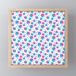 Pattern with Baby Feet  and Hearts in pink and blue color Framed Mini Art Print