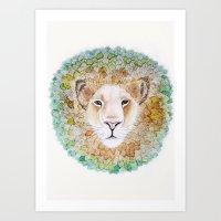 simba Art Prints featuring Simba by Juliette Thornbury
