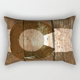 Rustic brown wooden Colorado flag Rectangular Pillow