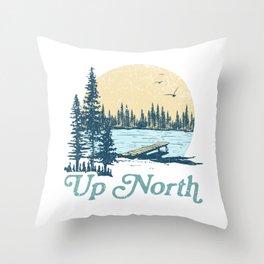 Vintage Up North Lake Throw Pillow