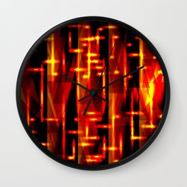 Luxurious red stripes and metallic orange triangles of fire create abstraction and glow. Wall Clock