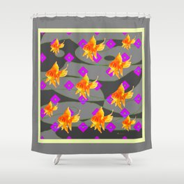 Decorative Gold Fish Modern Grey  Abstract Shower Curtain