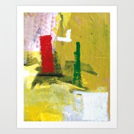 No. 02 Yellow Red and Green Bold Abstract Painting  Art Print