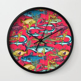 Magical underwater world. Wall Clock