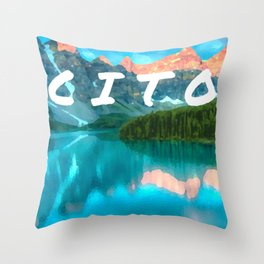 Cache in trash out oil painting style digital art Throw Pillow