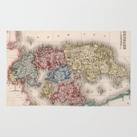denmark Area & Throw Rugs featuring Vintage Map of Denmark (1838) by BravuraMedia