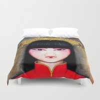 asia Duvet Covers featuring Asia by Melanie Arias