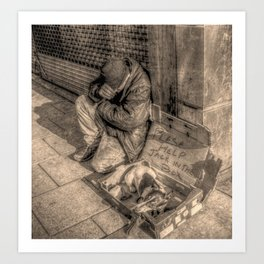 down and out Art Print