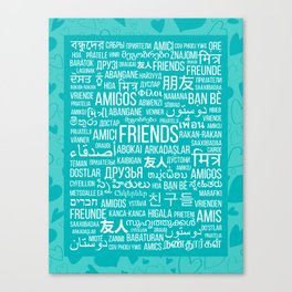 """The word """"Friends"""" in different languages of the world on a turquoise background with hearts Canvas Print"""