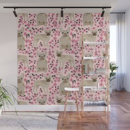 French Bulldog fawn coat cherry blossom florals dog pattern floral dog breeds Wall Mural