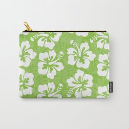 White Hibiscus on Green Carry-All Pouch