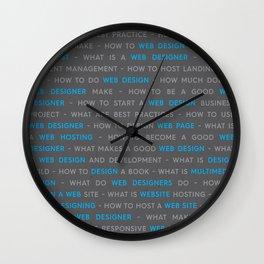 Blue Web Design Keywords Poster Wall Clock