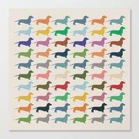 dachshund Canvas Prints featuring Dachshund by Opul