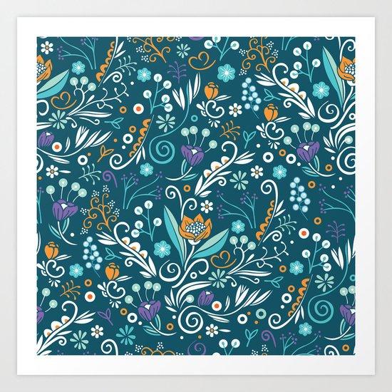 Flower circle pattern, blue Art Print