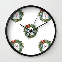 Jacques Frost Wreath with Transparent Background Wall Clock