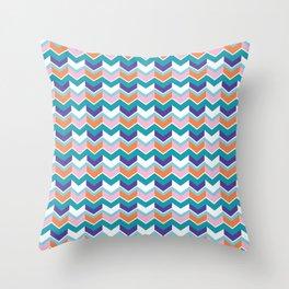 Chevron Arrow Pattern Bright Wavy Stripes Throw Pillow