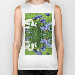 BLUE & WHITE IRIS WATER REFLECTION ART Biker Tank