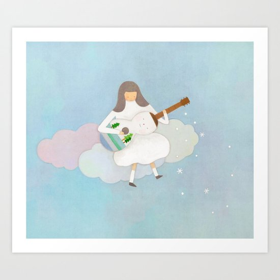 Winter play Art Print