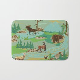 Paint by Number Woodland Animals Bath Mat