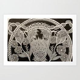 Black and white uterus Art Print