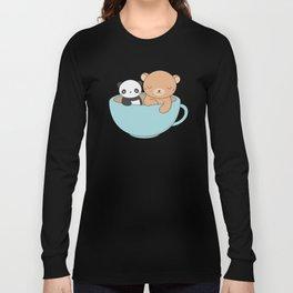 Kawaii Cute Brown Bear and Panda Long Sleeve T-shirt