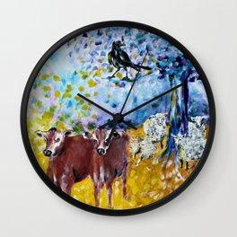 Farm Animals Protected by Brigit Wall Clock