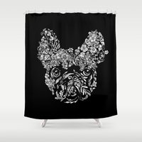frenchie Shower Curtains featuring Botanical frenchie by Huebucket