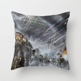 Warhammer 40,000 space marines Horus Heresy war artwork digital science fiction futuristic Throw Pillow
