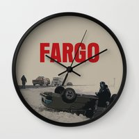 movie poster Wall Clocks featuring Fargo Movie Poster  by FunnyFaceArt