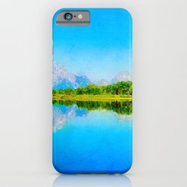 Lake reflections watercolor painting #1 iPhone Case