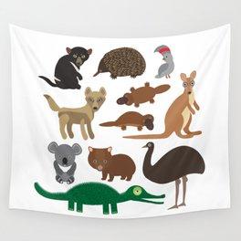 Animals Australia: Echidna Platypus ostrich Emu Tasmanian devil Cockatoo parrot Wombat crocodile Wall Tapestry