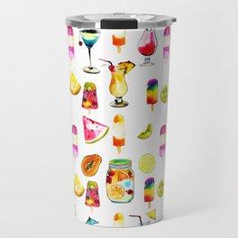 Watercolor Summer Fresh Fruits Cocktails Ice-cream Travel Mug